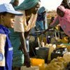 UN peacekeeper speaks with women refugees at Farchana camp, Chad