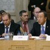 Secretary-General Ban Ki-moon (right) speaks at the Moscow Special Conference on Afghanistan