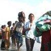 Des civils fuyant les combats au Sri Lanka.