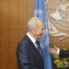 Secretary-General Ban Ki-moon (right) with Shimon Peres, President of Israel