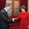 Secretary-General Ban Ki-moon (left) with Nancy Pelosi, Speaker of the US House of Representatives in this file photo