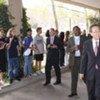 Secretary-General Ban Ki-moon (right) at the Manhattan campus of the UN International School (file)