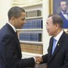 US President Barack Obama (left)  welcomes Secretary-General Ban Ki-moon to the White House on 10 March 2009 (file)