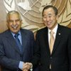 Secretary-General Ban Ki-moon (right) meets with the President-elect of the General Assembly Ali Treki of Libya