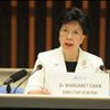 UN health chief Margaret Chan announces that the A(H1N1) influenza outbreak has officially reached global pandemic levels
