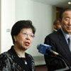 WHO chief Margaret Chan and Secretary-General Ban Ki-moon (right) at media briefing