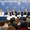 Secretary-General Ban Ki-moon with Quartet members at joint press conference in Trieste, Italy