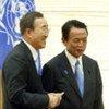 Secretary-General Ban Ki-moon (left) and Prime Minister Taro Aso of Japan hold a press encounter