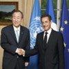 Secretary-General Ban Ki-moon (left) with President Nicolas Sarkozy of France