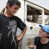 UNHCR Goodwill Ambassador Angelina Jolie with a young Iraqi in Chikook, Baghdad