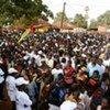 Un rassemblement de partisans du candidat Malam Bacai Sanha pour le premier tour de l'élection en Guinée-Bissau le 28 juin 2009.