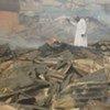 Décombres du marché aux grains de Laranto au Nigéria après un incendie lors d'émeutes en novembre 2008.