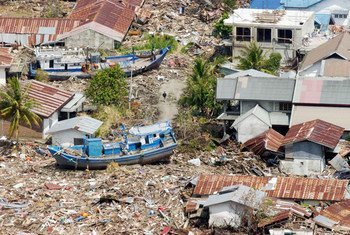 Aerial view of the vast destruction of the Indonesian coast caused by the Indian Ocean tsunami in 2004.