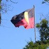 The Australian aboriginal flag flying in Victoria Square, Adelaide.