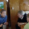 Secretary General Ban Ki-moon with Norwegian officials on their way by plane to the North Pole