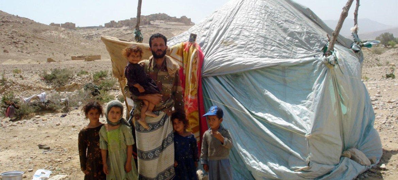 Des déplacés dans le camp d'al-Hamraa, dans la province d'Amran, au Yémen.