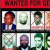 Affiche de 2003 montrant des personnes recherchées par le Tribunal pénal international pour le Rwanda.