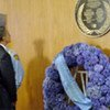 US President Barack Obama lays  wreath in honour of victims of the August 2003 attack on the UN office in Iraq