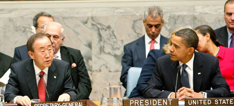 Secretary-General Ban Ki-moon addresses Security Council summit as US President Barack Obama listens