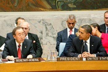 Le Secrétaire général Ban Ki-moon et le Président des Etats-Unis Barack Obama au Conseil de sécurité.