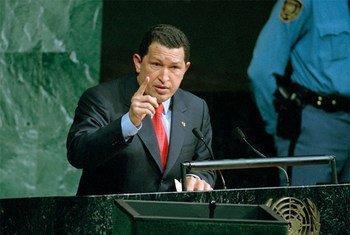 Venezuelan President Hugo Chávez addresses the UN General Assemly in 2001.