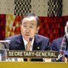 Ban Ki-moon lors d'une réunion ministérielle du Groupe d'amis de l'Alliance des civilisations.