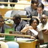Nigerian delegation casts vote during the secret-ballot election in the General Assembly