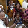 A group of forcibly displaced people in north Yemen.