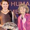Prof. Frances Stewart (right) receives the Mahbub ul Haq Award from Jeni Klugman of UNDP