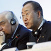 Secretary-General Ban Ki-moon and Special Adviser on migration Peter Sutherland at news conference in Athens
