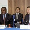 UNIDO Director-General, Kandeh K. Yumkella (left), and CEO of METRO Group, Eckhard Cordes, sign agreement in Vienna