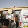 Un convoi d'aide entrant à Gaza depuis l'Egypte au point de passage de Rafah.