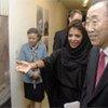 Secretary-General Ban Ki-moon at the opeining of 'Reflective Mirror' exhibition