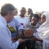 UN High Commissioner for Refugees António Guterres receives gifts from the Mbororo refugees in Bolembe.
