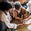 A communal malaria test, Khanh Phu, Viet Nam