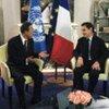 Secretary-General Ban Ki-moon (left) meeting with President Nicolas Sarkozy of France