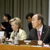 Secretary-General Ban Ki-moon opens donors' conference for Haiti. To his right is US Secretary of State Hillary Clinton