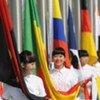 Cérémonie devant le pavillon chinois à l'Exposition universelle de Shanghaï.