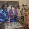 Helen Clark (second left) views the ancient manuscripts of Timbuktu, Mali