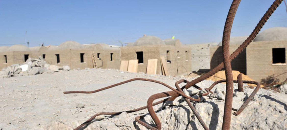 Mud-brick houses being built by UNRWA as temporary shelter for families in Gaza.