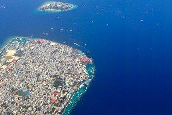 Vue aérienne de Malé, la capitale des Maldives.
