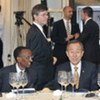 Secretary-General Ban Ki-moon (centre) attends MDG Advocacy Group luncheon in Madrid
