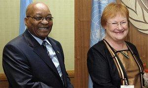 South African President Jacob Zuma and President Tarja Halonen of Finland.
