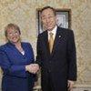 Secretary-General Ban Ki-moon (right) with Michelle Bachelet