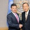 Juan Manuel Santos y Ban Ki-moon. Foto de archivo: ONU
