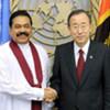 Secretary-General Ban Ki-moon (right) meets with Mahinda Rajapaksa, President of Sri Lanka.