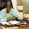 Foreign Minister Zainab Hawa Bangura of Sierra Leone, attends a meeting of the Security Council on the situation in her country
