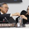 ECOSOC President Hamidon Ali (left) chairs election of members of the Executive Board of UN Women