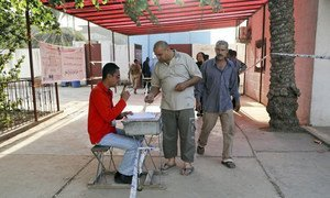 Voting at a Baghdad polling station in Iraq's parliamentary elections on 7 March 2010.