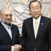 Le Secrétaire général Ban Ki-moon (à droite) rencontre le responsable iranien Javad Ardeshir Larijani.